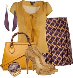 """SALVATORE FERRAGAMO Purple-Multi Pleated Silk Skirt"" by aannggiiee ❤ liked on Polyvore"