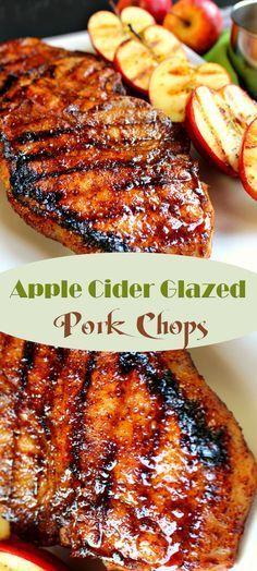 Apple cider glazed pork chops côtelettes de porc, viande, plats complet, no Pork Rib Recipes, Grilling Recipes, Meat Recipes, Cooking Recipes, Healthy Recipes, Recipes Dinner, Syrian Recipes, Cooking Rice, Gourmet