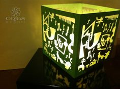 Cubo luminoso, porta candela in cartoncino traforato rivestito interamente cm 15x15 fatto a mano cojaseventi.com https://www.facebook.com/pages/Cojas-Eventi-Wedding-Planner-Sardegna/192376730792148?ref=hl