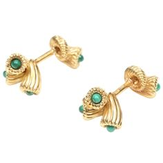 Gold  Malachite Cufflinks by Schlumberger for Tiffany  Co. | From a unique collection of vintage cufflinks at http://www.1stdibs.com/jewelry/cufflinks/cufflinks/