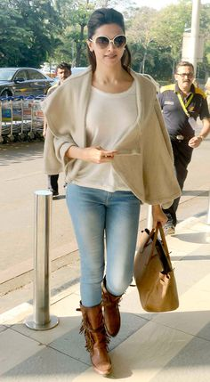 Deepika Padukone is currently shooting for 'Tamaasha' in which she would be sharing screen with Ranbir Kapoor : Spotted: Deepika Padukone, other celebs at the Mumbai airport Indian Celebrities, Bollywood Celebrities, Bollywood Fashion, Western Outfits, Indian Outfits, Deepika Padukone Style, Casual Outfits, Fashion Outfits, 50 Fashion