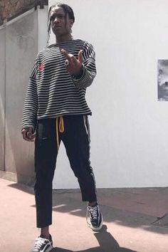 3ff4bc662 ASAP Rocky Wears Gosha Rubchinskiy Sweatshirt, Rhude Pants and Vans Sneakers