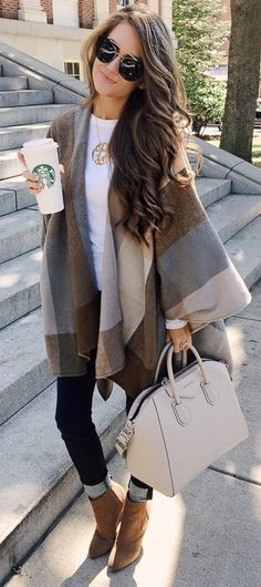 #fall #trending #outfits |  Check Poncho + White + Denim