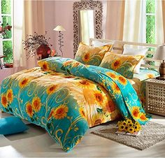 Cooperation Home Textiles, Bright Sunflower Pattern Fannel Queen Size Bedding Set, Soft and Comfortable without comforter) Bedroom Themes, Bedroom Decor, Bedrooms, Bedroom Images, Cama Floral, Bedding Sets Online, Duvet Cover Sets, Pillow Covers, Duvet Bedding