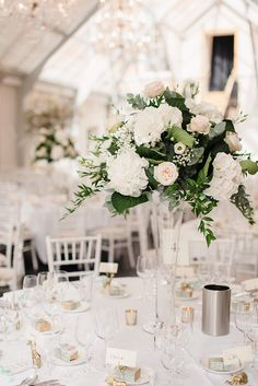 Tall White Flower Centrepieces | Classic Wedding at Botleys Mansion Surrey | Mint & Gold Colour Scheme | Minted Stationery | Faye Cornhill Photography | http://www.rockmywedding.co.uk/alice-gareth/