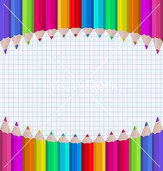 Free Vector   Rainbow of pencils on paper sheet background vector by smeagorl on VectorStock®