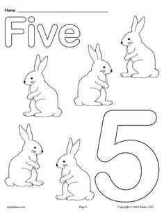 Free Printable Number Five Coloring Page