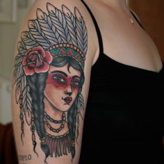 #muetattooer #schweresee #stendal #nativeamerican #indiannativegirl #rosetattoo #traditional #neotraditional #tattooedgirl #oldschool #germantattooers