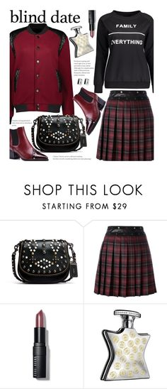 """Dress to Impress: Blind Date (street style)"" by beebeely-look ❤ liked on Polyvore featuring Coach 1941, Giamba, Bobbi Brown Cosmetics, Bond No. 9, StreetStyle, pleatedskirts, sammydress, statementtshirt and blinddate"