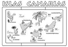 Día de Canarias. Mantel individual para colorear y plastificar.
