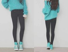 Definitely my style when I have to go somewhere, but I don't want to put in effort into my outfit. Converse Outfits, Blue Converse, Converse High, Colored Converse, Asian Fashion, Teen Fashion, Love Fashion, Sweater Weather, Stylish Clothes
