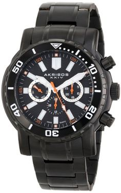 Akribos XXIV Mens AK675BK Grandiose Swiss Quartz Multifunction Black Stainless Steel Bracelet Watch >>> You can get more details by clicking on the image. (This is an Amazon affiliate link)