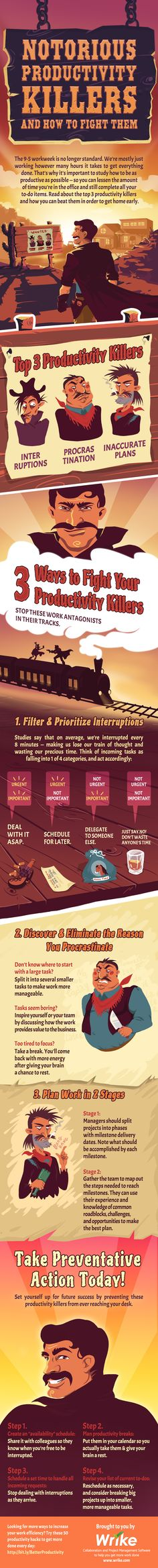 Notorious Productivity Killers and How to Fight Them #infographic #Productivity #Business