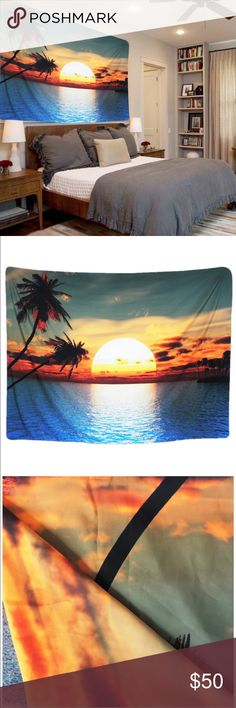 """NEW🎀 Sunset and Palm Tree Tapestry 🎀 Sunset and Palm Tree Tapestry  Decor Contemporary Tapestry for your home  Tapestry Rectangle Large 82.7"""" X 59.1"""" /210cm x 150cm approx Pattern Type: Printing  MULTI-USAGE: Almost any for home decor purpose like- tapestry, wall hanging, bedspread, wall decor, wall art, bed cover, room divider, curtain, table cloth, college dorm, picnic blanket, Beach throw and for gifts.  Printed on one side, using heat dye sublimation technique, long-lasting effects…"""