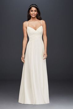 Searching for a simple, casual wedding dress? David's Bridal offers simple, elegant wedding gowns in lace, beach styles, short & other simple dress looks! Davids Bridal Dresses, Bridal Wedding Dresses, Cheap Wedding Dress, Wedding Dress Styles, Wedding Beach, Dream Wedding, Beach Weddings, Destination Wedding, Vestidos Off White