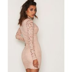 Choker Lace Dress ($55) ❤ liked on Polyvore featuring dresses, lace dress, lace cocktail dress and lacy dress