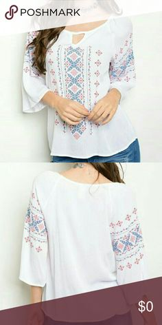 Embroidery Blouse Embroidery blouse. 3/4 sleeve embroidery blouse. 100% rayon. Color: white, red, navy. Tops Blouses