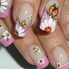 Pretty flowers and buttrrflys Flower Nail Designs, Colorful Nail Designs, Flower Nail Art, Nail Art Designs, Cute Pink Nails, Pretty Nails, Spring Nails, Summer Nails, Wow Nails