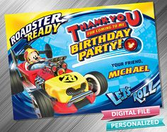Mickey Roadster Racers Thank you card