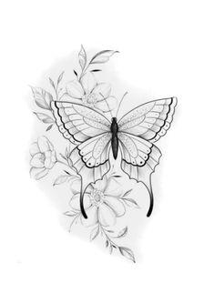 Flower Tattoo Drawings, Tattoo Design Drawings, Flower Tattoos, Small Tattoos, Traditional Tattoo Stencils, Girl Tattoos, Tattoos For Women, Borboleta Tattoo, Tattoo Femeninos