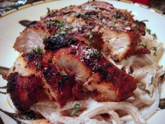 Blackened Chicken Alfredo | Plain Chicken - skip the pasta and use brocolli or zoodles (spiral zucchini noodles) instead