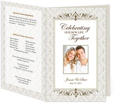 Letter Single Fold : Matrimony Wedding Program Templates. Edits easily and quickly in Word, OpenOffice, Publisher, and Apple iWork Pages.