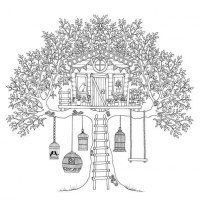 Treehouse Coloring Page for Kids Color Luna Quilt ideas