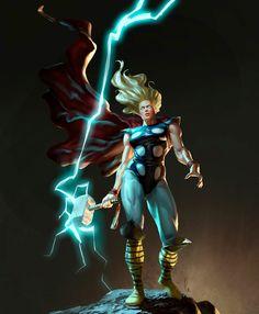 ArtStation - She-Thor, Javier Charro Marvel Girls, Marvel Art, Marvel Heroes, Captain Marvel, Avengers Earth's Mightiest Heroes, The Mighty Thor, Loki Thor, Manga Comics, Comic Artist