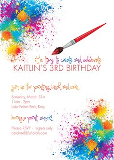 Custom Printable 5x7 Paint / Artist Birthday by denamillerdesigns, $18.00