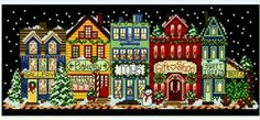 Winter village cross stitch