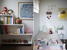 """Ché and Fidel, """"I wanted to keep Poet's room simple and sweet. I've used a colour palette of rather muted tones - lavender, dusty-pink, mustard and grey, and chosen items for their handmade/heirloom appeal. It's a really lovely room to be in; cosy and comfortable."""""""