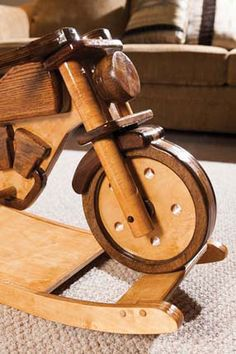 Wooden Motorcycle Rocking Horse