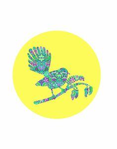 Fantail Sunshine Bird Art Print A4 New Zealand Floral Design Kiwiana Aotearoa Bright Modern Digital Artprint Skehan Round by LittleOwlArtHouse on Etsy