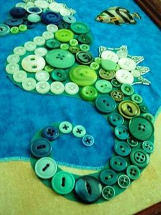 Create a lasting memento of your trip to Sew World. Seahorse button applique. Frame and hang in your child's bathroom.