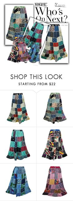 """Vintage Style"" by baydeals ❤ liked on Polyvore featuring vintage, skirt, vintageskirt and patchworkskirt"