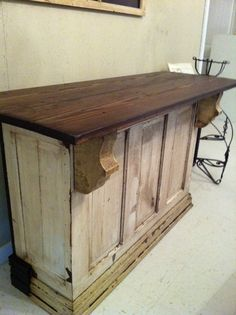 bar made from old doors....make just a little bigger for a store counter