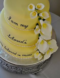 "Song of Solomon Wedding Cake ""I am my beloved's and my beloved is mine."""