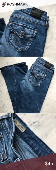 True Religion Joey Low Rise Flare Super cute True Religion Jeans. Joey Low Rise Flare. Excellent used condition. Stretchy. Very light fray on bottom,see pics. Size 25. Smoke free home. No trades. True Religion Jeans Flare & Wide Leg