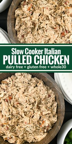 This Slow Cooker Italian Pulled Chicken is so simple! Everything (including your frozen chicken) goes right into the slow cooker. Plus it's Whole30, paleo, and gluten free.