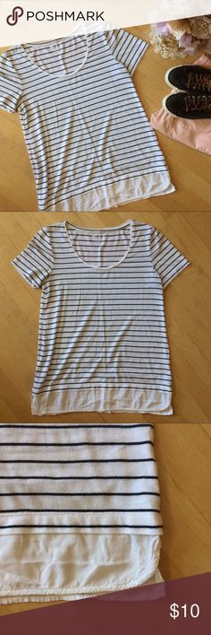 ADORABLE black + white stripe mixed media tee Super cute black and white striped mixed media tee. Scoop neck and a light white material on the bottom. Cute with leggings or skinny jeans and great for layering. Light thin and super comfy! Well loved with lots of life left for you 😘 Stylus Tops Tees - Short Sleeve