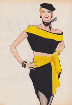 René Gruau - black and yellow fashion illustration