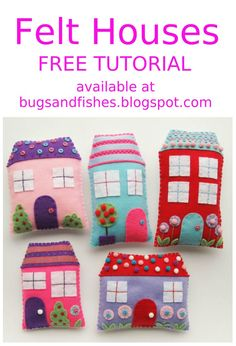Sew a set of cute felt houses with this free tutorial!