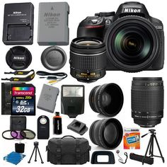 Nikon D5300 Digital SLR Camera 4 Lens 18-55mm VR 70-300  32GB Top Notch Bundle