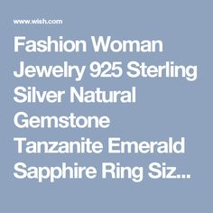 Fashion Woman Jewelry 925 Sterling Silver Natural Gemstone Tanzanite Emerald Sapphire Ring Size6 7 8 9 10