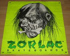 Texas Zorlac Banner Yellow Neon Real Skateboards, Vintage Skateboards, Seek And Destroy, Skate Art, Skateboard Decks, Skateboarding, Old School, Guitars, Banner