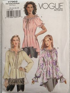 Vogue 7969 Tunic Blouse,  Boho Peasant Top Sewing by PeoplePackages