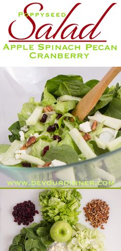 YUMMY! Apple Cranberry Pecan Salad is Wonderful Full of flavor Spinach Salad serve with Poppyseed Dressing. Apple Cranberry Pecan Spinach Salad is perfect anytime of year. Add Chicken for a full meal. Delicious. #DevourDinner #recipe #foodie #Salad #spinachSalad #Poppyseed #FallAppleSalad #Apple #Cranberry #spinach #pecan #EasyRecipe #Foodie #Buzzfeast