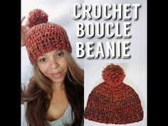 Boucle can be a difficult yarn to work. With a little patience and a good pattern, you can make something beauiful. Tips when working with Boucle yarn: You have to feel the stitch since it so hard to see. Easy Crochet Hat, Crochet Cap, Crochet Beanie, Crochet Crafts, Free Crochet, Beginner Crochet Projects, Crochet Patterns, Hat Patterns, Tejidos