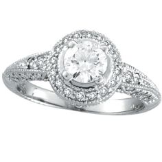 Jewelry: White Gold Antique Style Diamonds Around and Center Diamond Engagement Ring. Antique Style Engagement Rings, Wedding Rings Vintage, Wedding Rings For Women, Designer Engagement Rings, Vintage Rings, Diamond Engagement Rings, Wedding Engagement, Vintage Jewelry, Looks Vintage