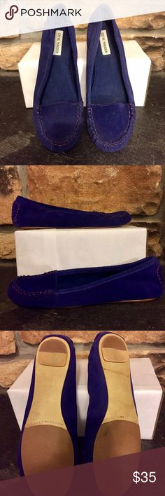 Royal blue suede loafers Genuine suede upper with contrast stitching, man made lining. Color accurately reflected in first pic. I am pretty sure I wore these once a while back but looking at the soles I don't see any wear. So maybe not! 😊 Steve Madden Shoes Flats & Loafers